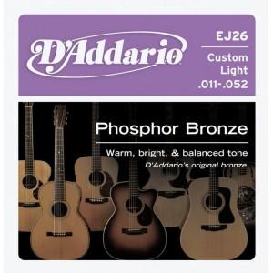 Jeu cordes D'addario Folk EJ26 Phosphor Bronze 11-52